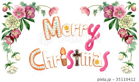 水彩で描いたメリークリスマスの文字クッキー 35110412
