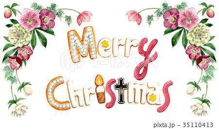 水彩で描いたメリークリスマスの文字クッキー 35110413
