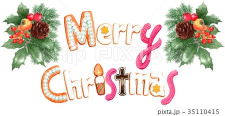 水彩で描いたメリークリスマスの文字クッキー 35110415