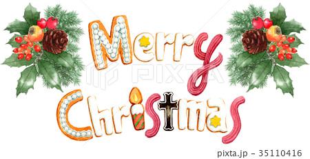 水彩で描いたメリークリスマスの文字クッキー 35110416