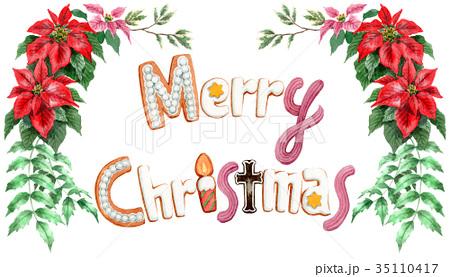 水彩で描いたメリークリスマスの文字クッキー 35110417