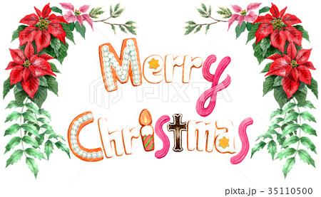 水彩で描いたメリークリスマスの文字クッキー 35110500