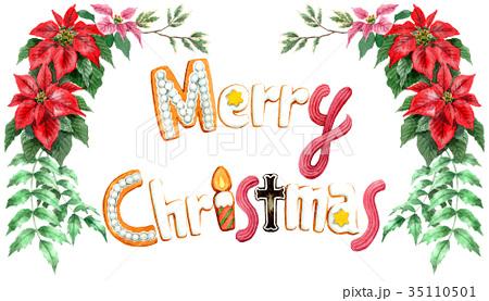 水彩で描いたメリークリスマスの文字クッキー 35110501