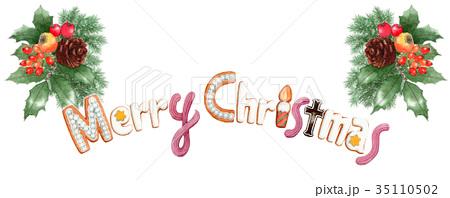 水彩で描いたメリークリスマスの文字クッキー 35110502