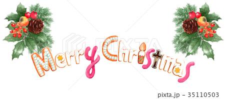 水彩で描いたメリークリスマスの文字クッキー 35110503