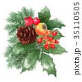 水彩 クリスマス 装飾のイラスト 35110505