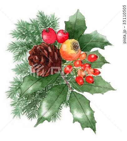 水彩で描いたクリスマスの飾り 35110505