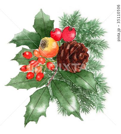 水彩で描いたクリスマスの飾り 35110506