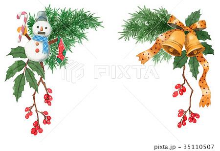 水彩で描いたクリスマスの飾り 35110507