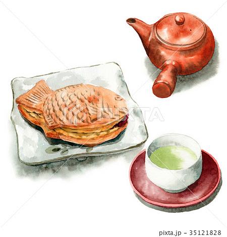水彩で描いたたいやきと日本茶 35121828