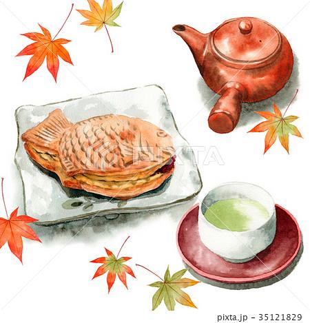 水彩で描いたたいやきと日本茶 35121829