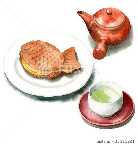 水彩で描いたたいやきと日本茶 35121831