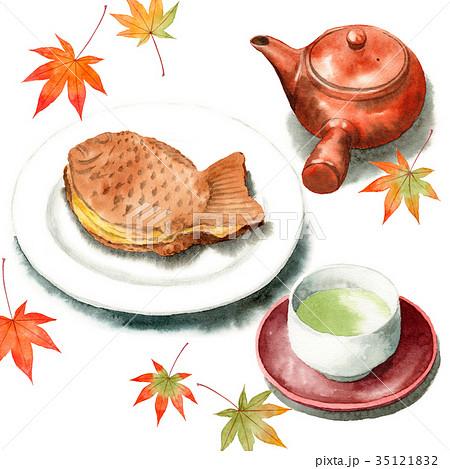 水彩で描いたたいやきと日本茶 35121832