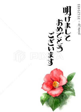 水彩で描いた赤い椿の賀詞入り年賀ハガキ素材 35125493