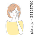 頬に手を当てる 女性 35125790