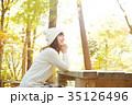 女性 紅葉 紅葉狩りの写真 35126496
