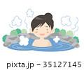 温泉 露天風呂 人物のイラスト 35127145