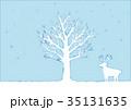 冬の木とトナカイのイラスト 35131635
