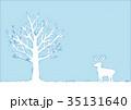 冬の木とトナカイのイラスト 35131640