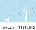 冬の木とトナカイのイラスト 35131642