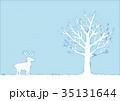 冬の木とトナカイのイラスト 35131644