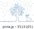 冬の木とトナカイのイラスト 35131651