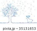冬の木とトナカイのイラスト 35131653
