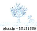 冬の木とトナカイのイラスト 35131669