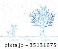冬の木とトナカイのイラスト 35131675