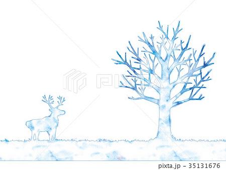 冬の木とトナカイのイラスト 35131676