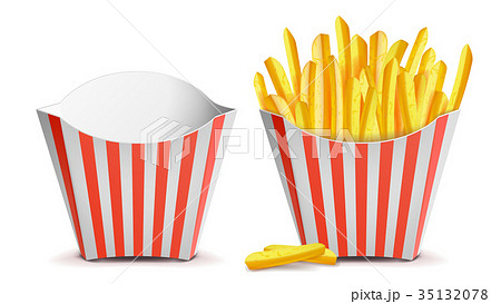 French Fries Potatoes Vector. Classic Striped Red 35132078