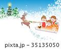 クリスマス ソリで空をとぶ子ども 35135050