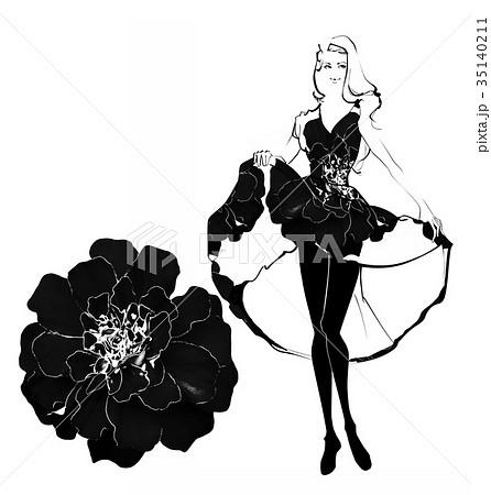 モノクロドレスの女性のファッション画のイラスト素材 [35140211