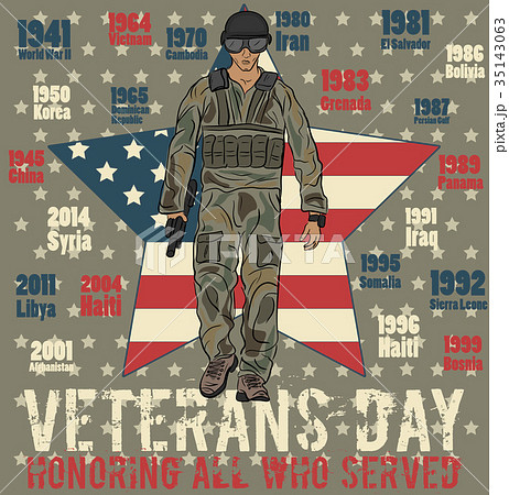 veterans day greeting card templateのイラスト素材 35143063 pixta
