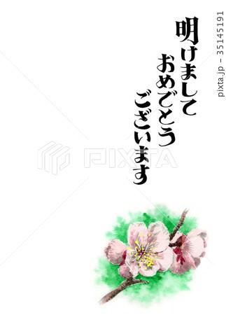 白梅の賀詞入り年賀ハガキ素材 35145191