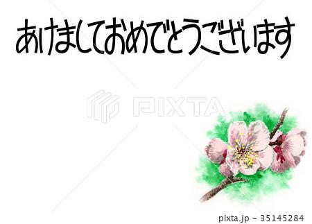 白梅の賀詞入り年賀ハガキ素材 35145284