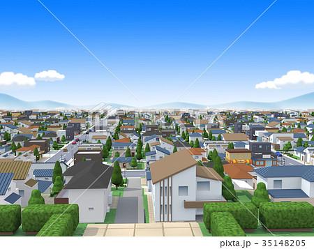 街 丘の上 住宅街のイラスト素材 35148205 Pixta