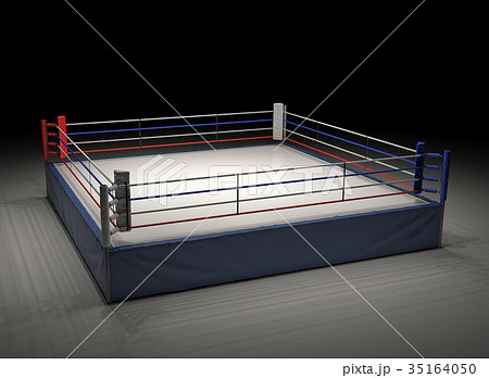 3d rendering of an empty boxing ring spotlighted 35164050