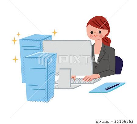 仕事が早い女性のイラスト素材 35166562 Pixta