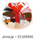ざるの上魚介類セット (光沢感あり) <魚介類のイラスト> 35169966