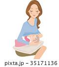 赤ちゃん 母親 親子のイラスト 35171136