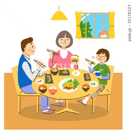 3人家族 食卓 背景 35176327