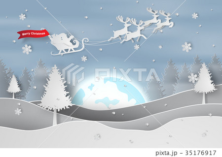 Paper art and craft of Merry Christmas  35176917