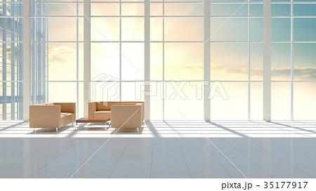 Interior of modern hall with big window 35177917