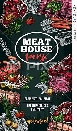 Vector sketch poster for meat house delicatessen 35186388