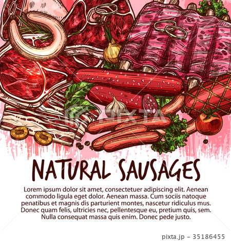 Vector sketch sausages and meat delicatessen 35186455