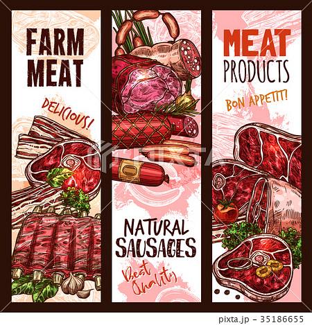 Vector banner sketch butchery shop meat product 35186655