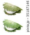 水彩 柏餅 和菓子のイラスト 35187146