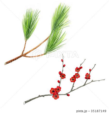 松と梅の枝飾り 35187149