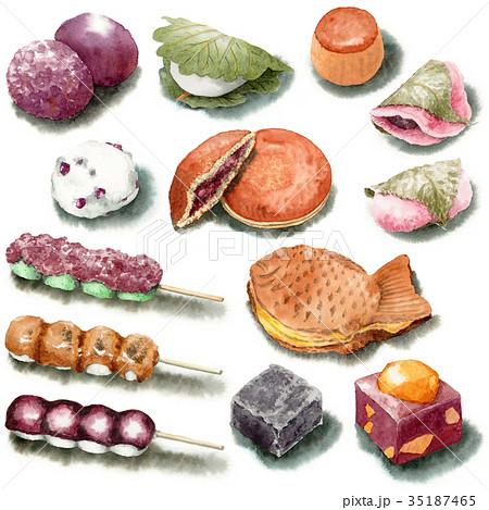 水彩で描いた和菓子いろいろ 35187465